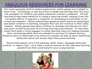Fabulous Resources for Learning