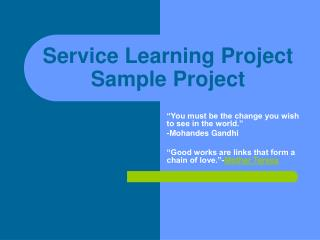 Service Learning Project Sample Project