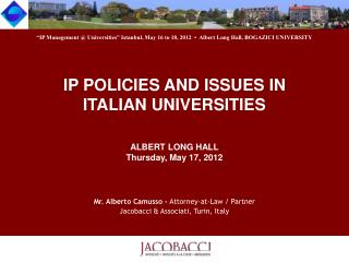IP POLICIES AND ISSUES IN  ITALIAN UNIVERSITIES