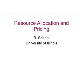 Resource Allocation and Pricing