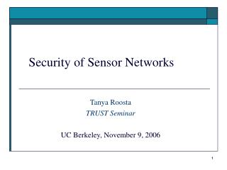 Security of Sensor Networks