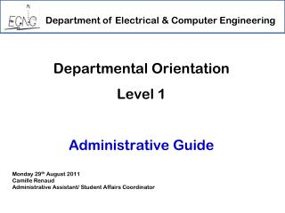 Departmental Orientation  Level 1 Administrative Guide