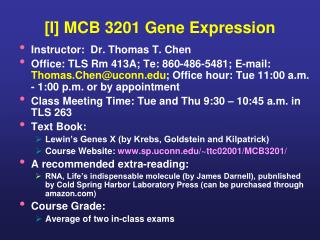 [I] MCB 3201 Gene Expression