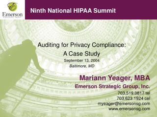 Ninth National HIPAA Summit