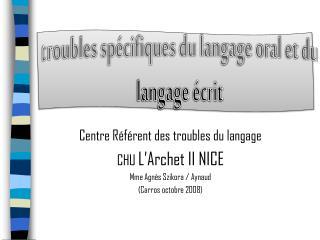 troubles spécifiques du langage oral et du langage écrit