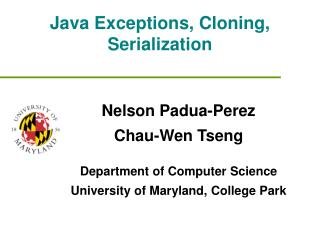 Java Exceptions, Cloning, Serialization