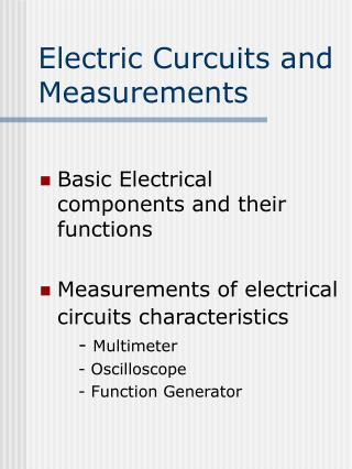 Electric Curcuits and Measurements