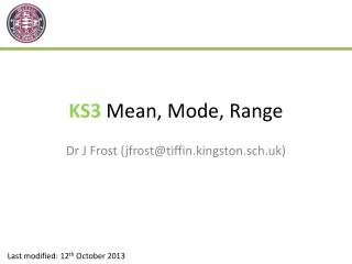KS3  Mean, Mode, Range