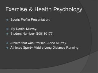 Exercise & Health Psychology