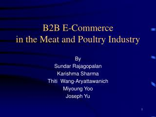 B2B E-Commerce  in the Meat and Poultry Industry