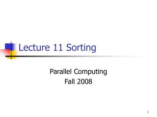 Lecture 11 Sorting