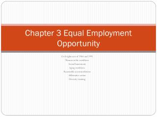 Chapter 3 Equal Employment Opportunity