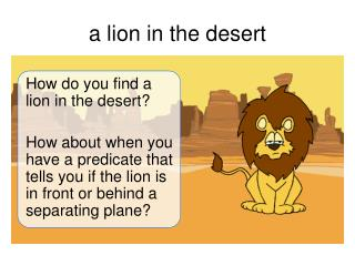 a lion in the desert