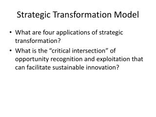 Strategic Transformation Model