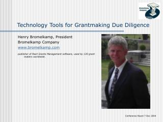 Technology Tools for Grantmaking Due Diligence