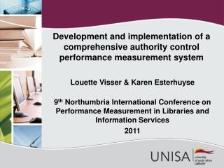 Development and implementation of a comprehensive authority control performance measurement system