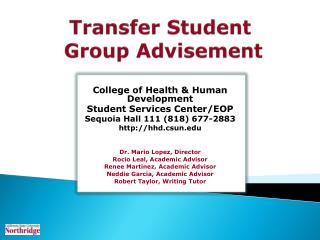Transfer Student  Group Advisement