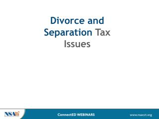Divorce and Separation  Tax Issues