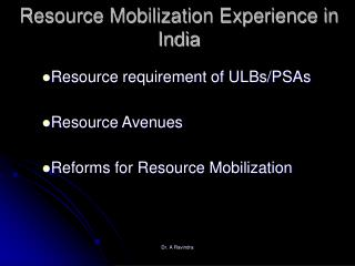 Resource Mobilization Experience in India