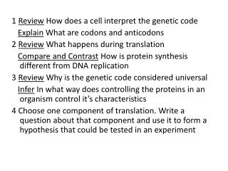 1  Review  How does a cell interpret the genetic code Explain  What are codons and anticodons