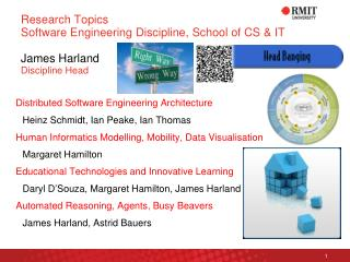 Research Topics Software Engineering Discipline, School of CS & IT James Harland Discipline Head