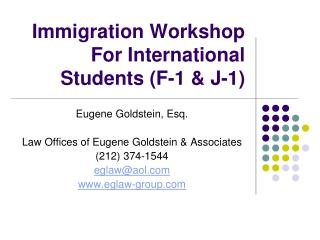 Immigration Workshop For International Students (F-1 & J-1)