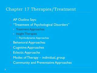 Chapter 17 Therapies/Treatment