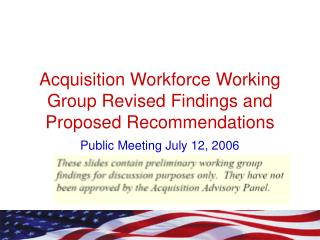 Acquisition Workforce Working Group Revised Findings and Proposed Recommendations