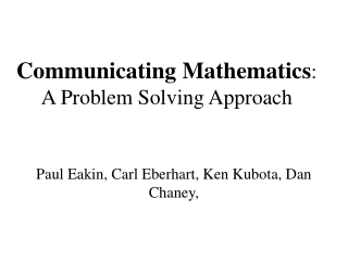 Standard 2.5 Mathematical Problem Solving  Communication