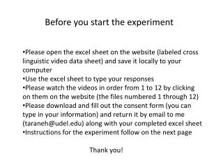 Before you start the experiment
