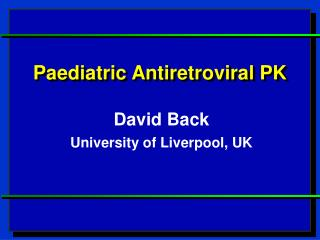 Paediatric Antiretroviral PK