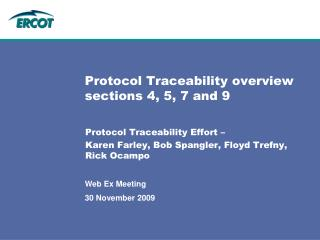 Protocol Traceability overview sections 4, 5, 7 and 9