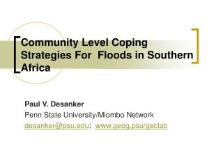 Community Level Coping Strategies For  Floods in Southern Africa