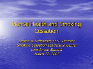 Mental Health and Smoking Cessation