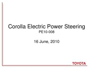 Corolla Electric Power Steering  PE10-008