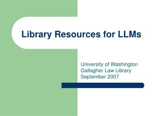 Library Resources for LLMs