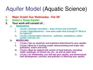 Aquifer Model  (Aquatic Science)
