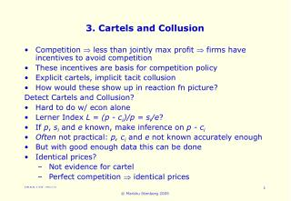 3. Cartels and Collusion