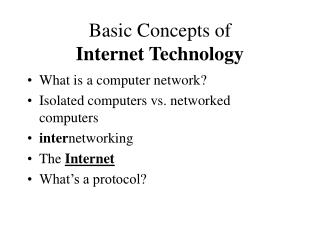 Basic Concepts of  Internet Technology