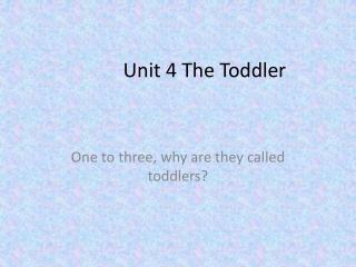 Unit 4 The Toddler