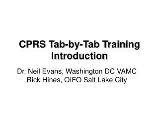 CPRS  Tab-by-Tab Training Introduction