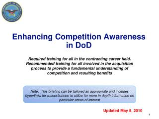 Enhancing Competition Awareness in DoD