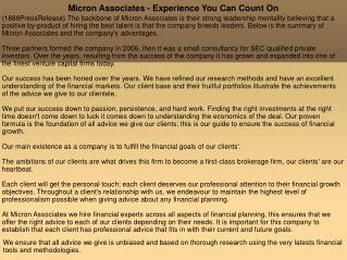 Micron Associates - Experience You Can Count On