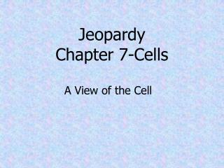 Jeopardy Chapter 7-Cells