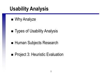 Usability Analysis