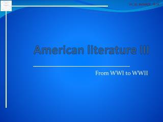 American literature  III
