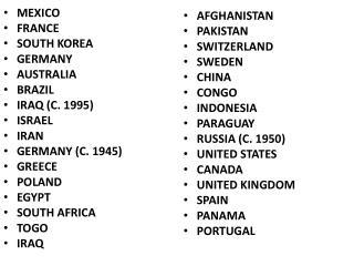 MEXICO FRANCE SOUTH KOREA GERMANY AUSTRALIA BRAZIL IRAQ (C. 1995) ISRAEL IRAN GERMANY (C. 1945)
