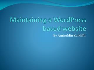 Maintaining a  WordPress  based website