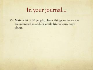 In your journal…