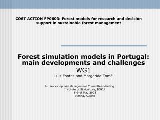 Forest simulation models in Portugal: main developments and challenges  WG1